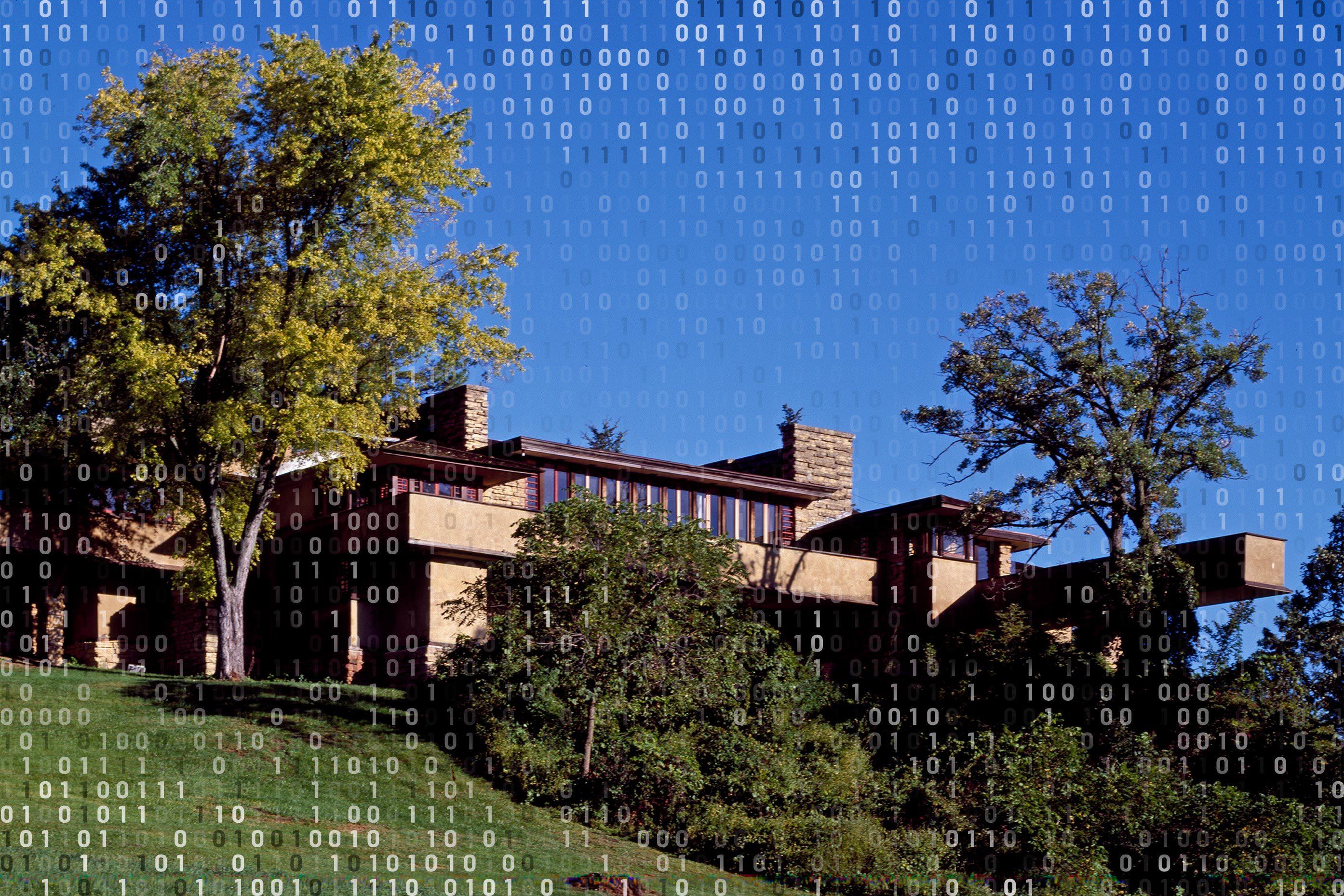 frank lloyd wright's house with computer binary code overlay