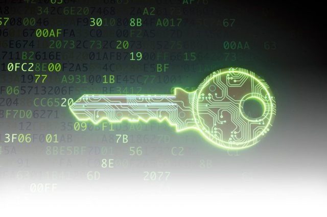 cyber digital abstract concept with a key security cybersecurity