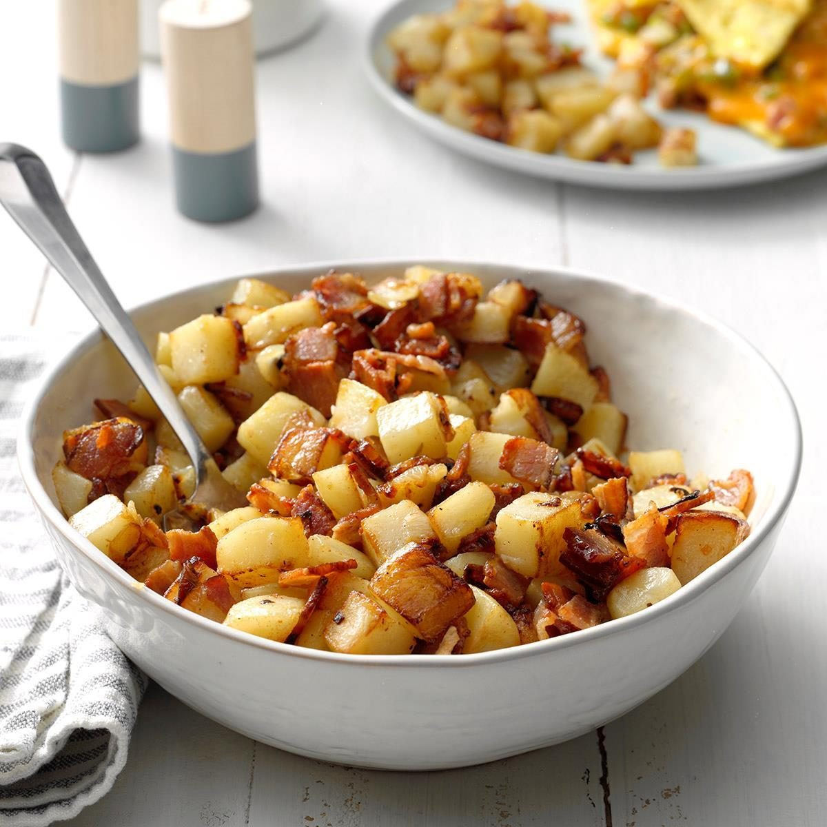 Home fries with bacon