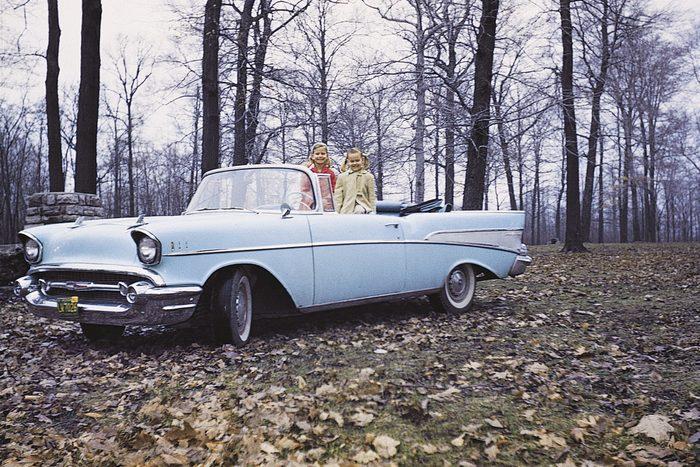 vintage photo car without seatbelts