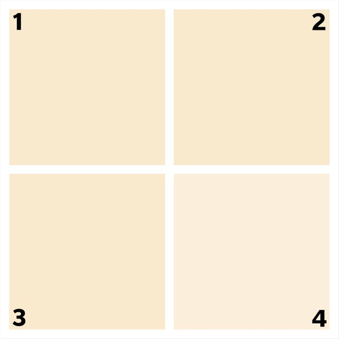 four beige squares. one is different.
