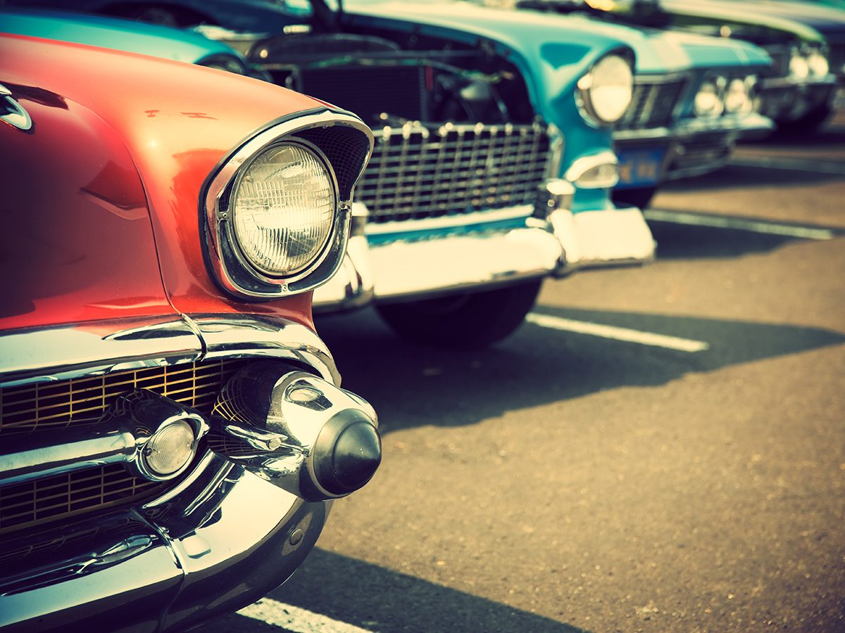Classic car parts - row of classic cars