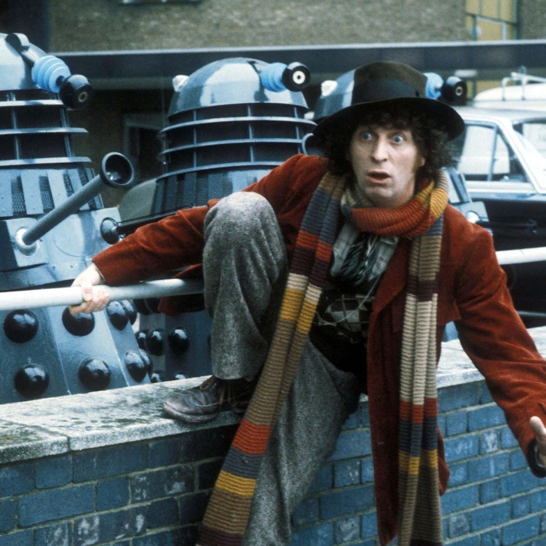 Classic Doctor Who on BritBox - Tom Baker as The Doctor with Daleks