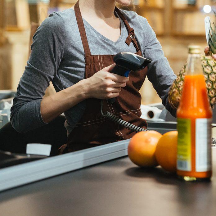 Grocery store cashier during coronavirus