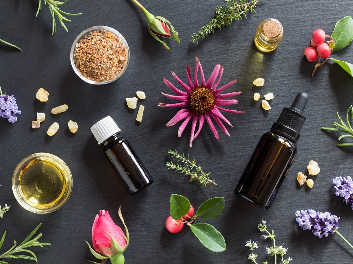 Essential oils on black table