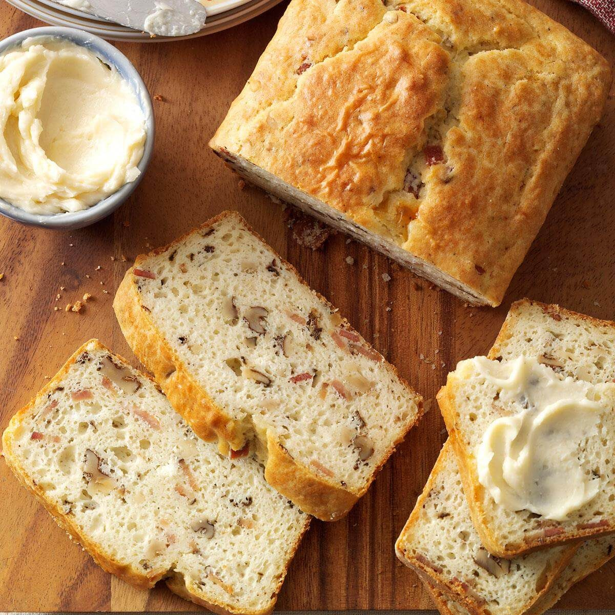 Bacon walnut bread with honey butter