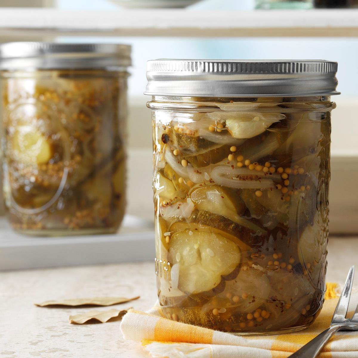 Jarred sweet pickles