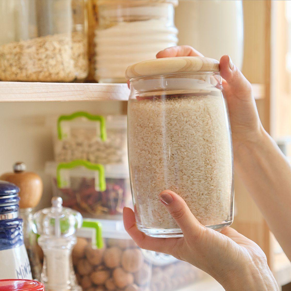 Rice in a mason jar