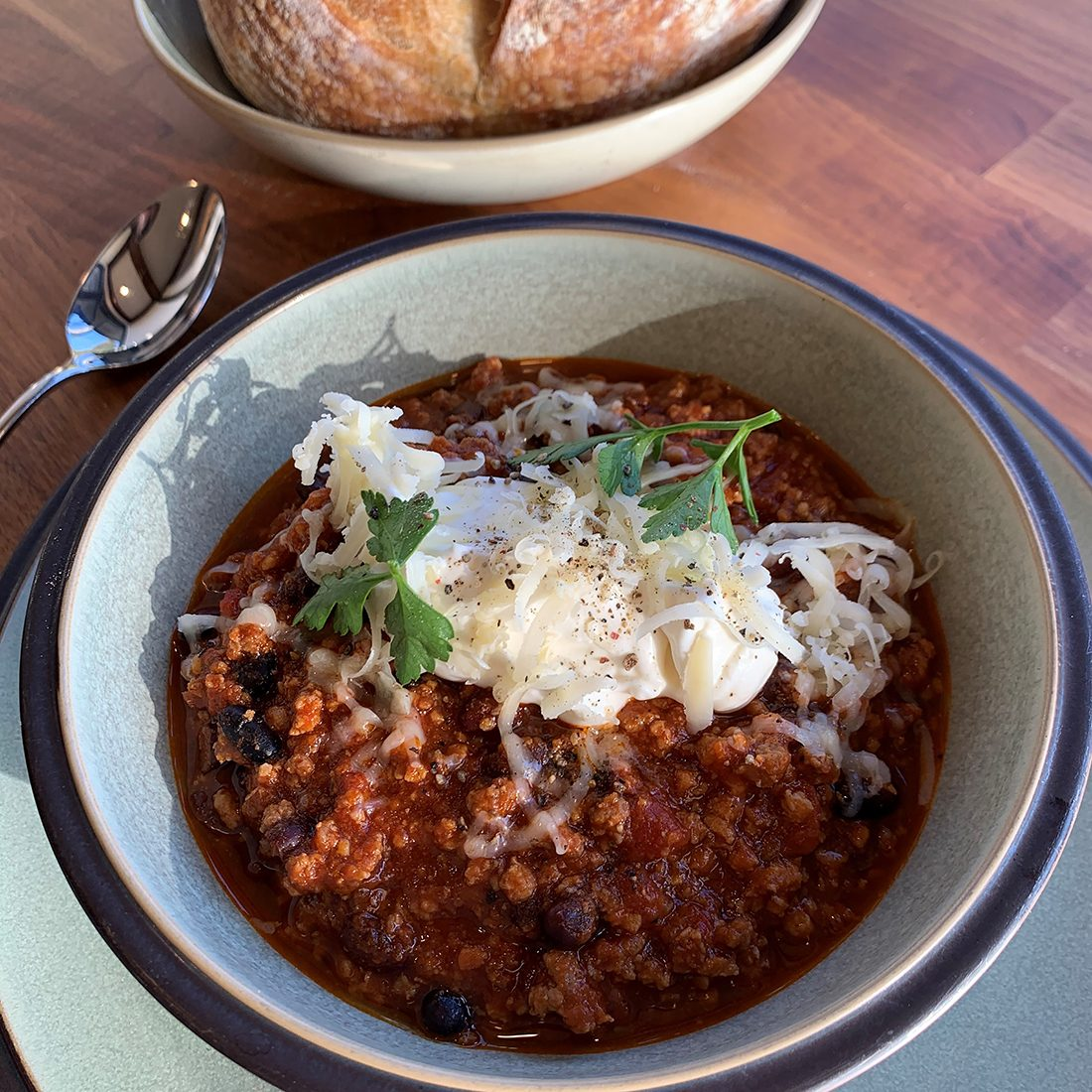 Ned's famous beef pork Tabasco Chipotle and black bean chili recipe