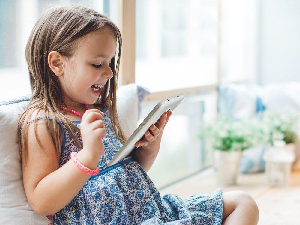 Little girl on tablet