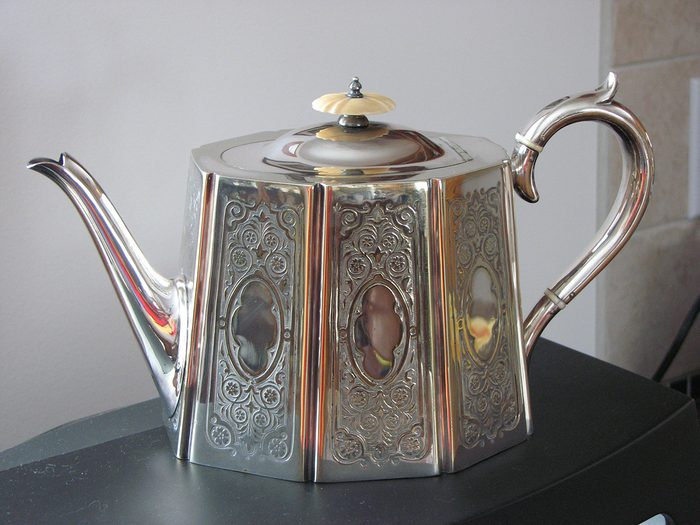 historical canadian photos - vintage silver teapot