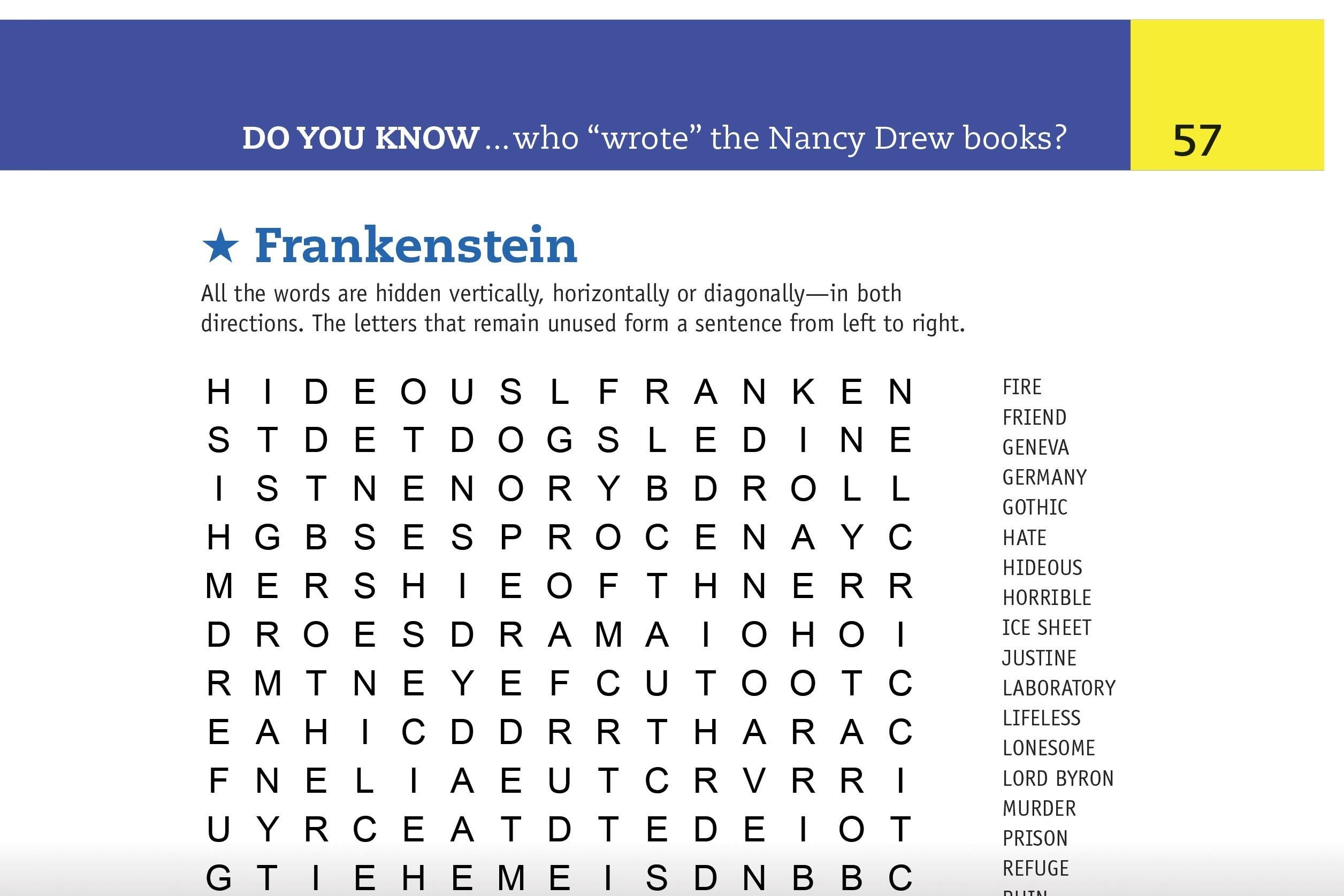 frankenstein word search preview