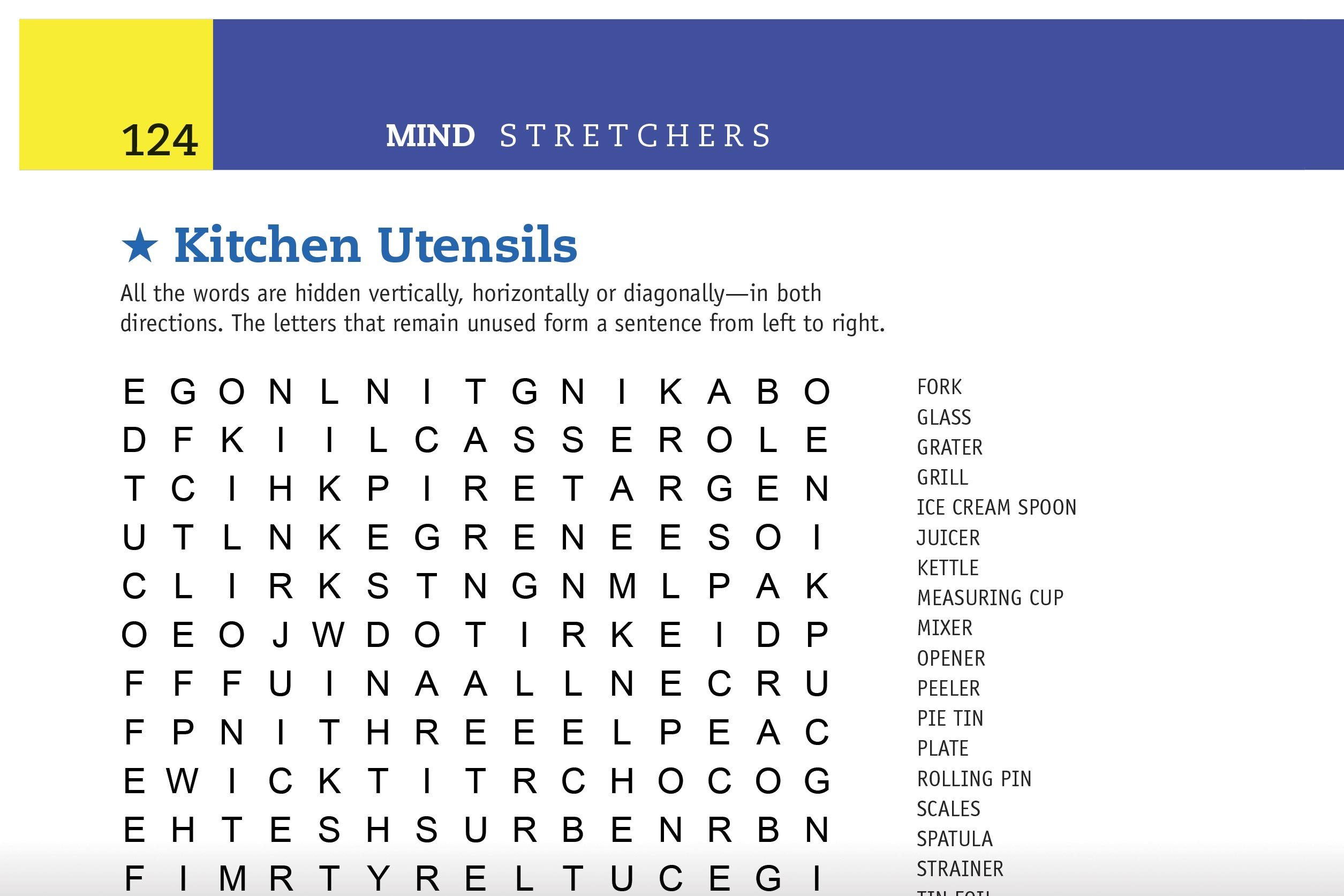 kitchen utensils word search preview