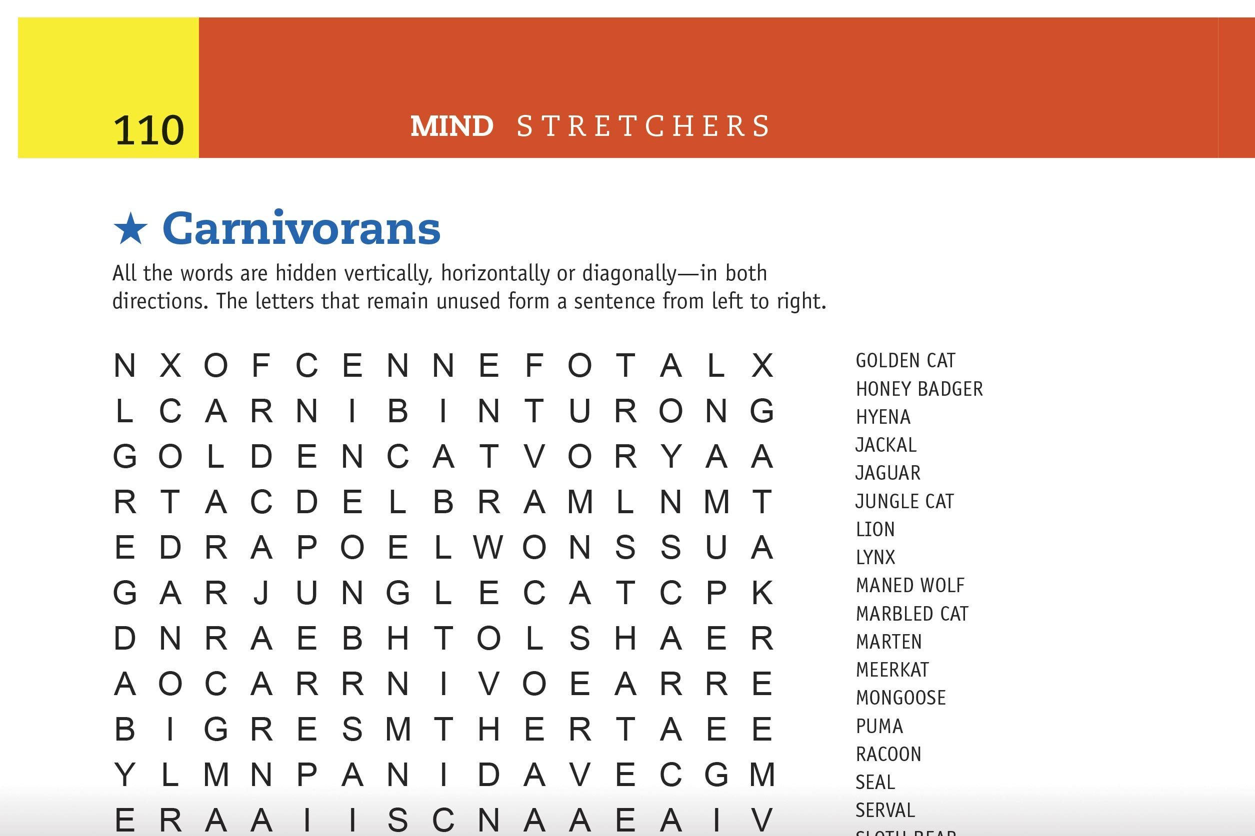 carnivorans word search preview