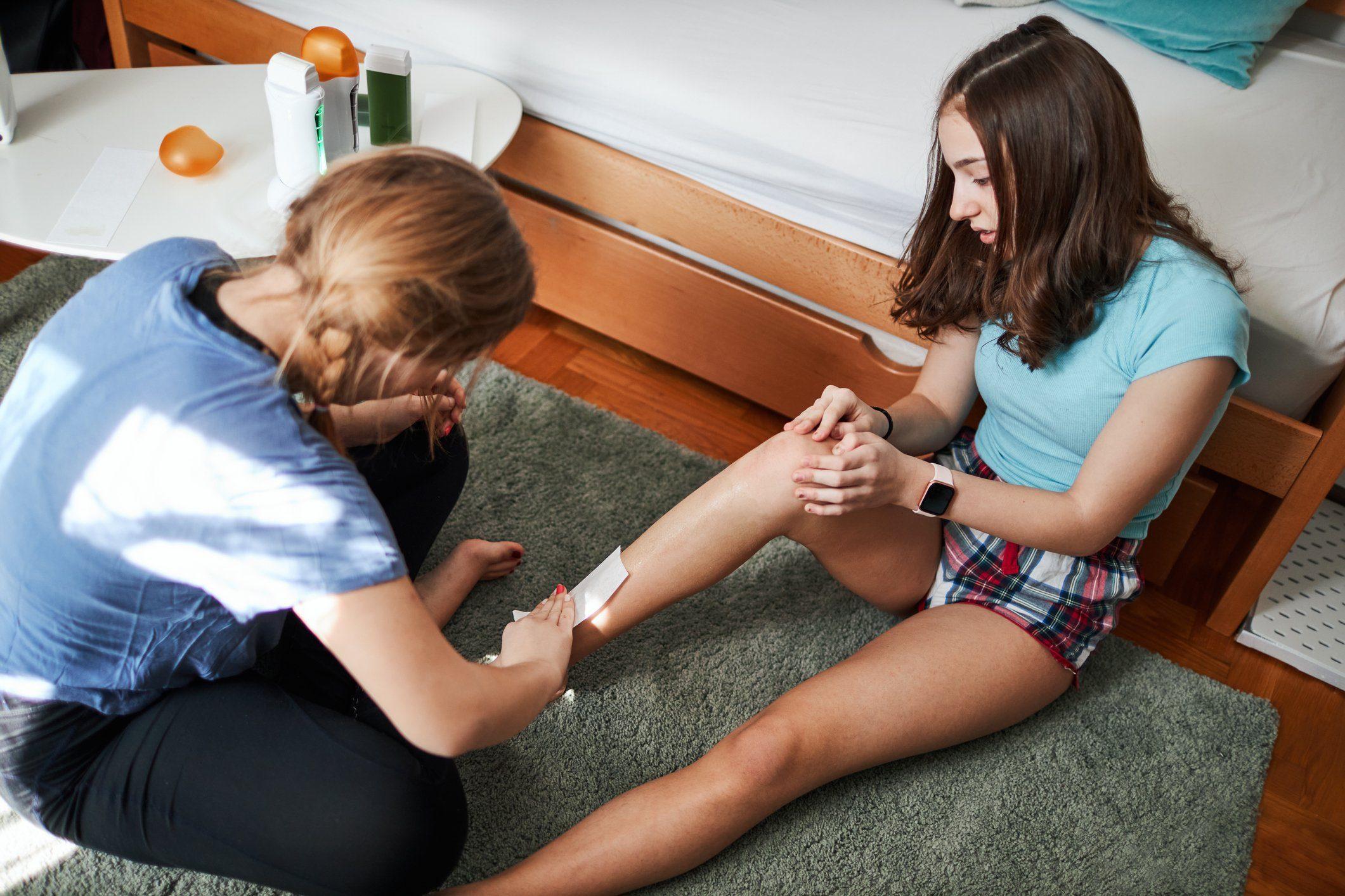 Teenage Sisters Waxing At Home