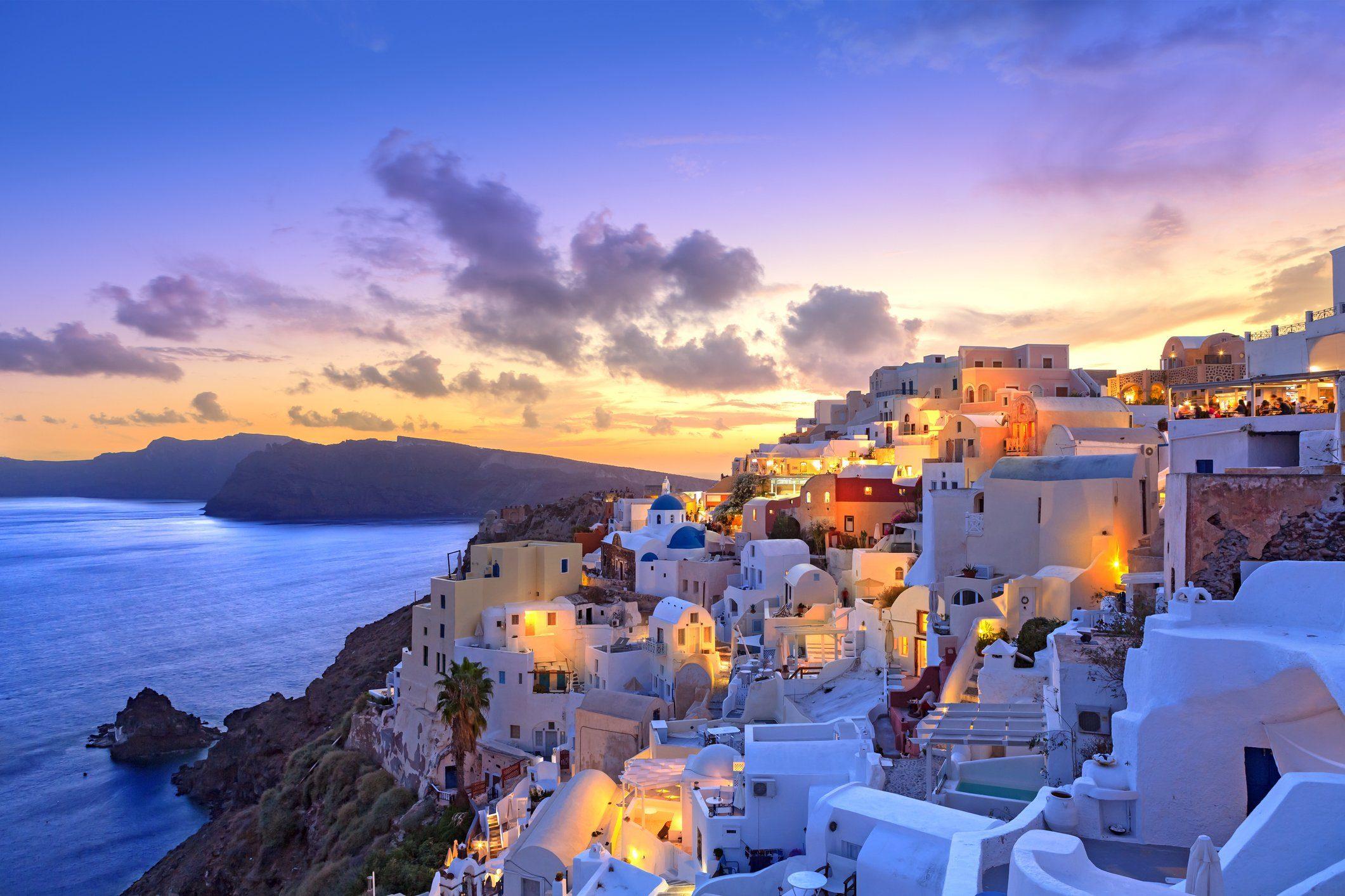 Santorini sunset at dawn village of Oia Greece