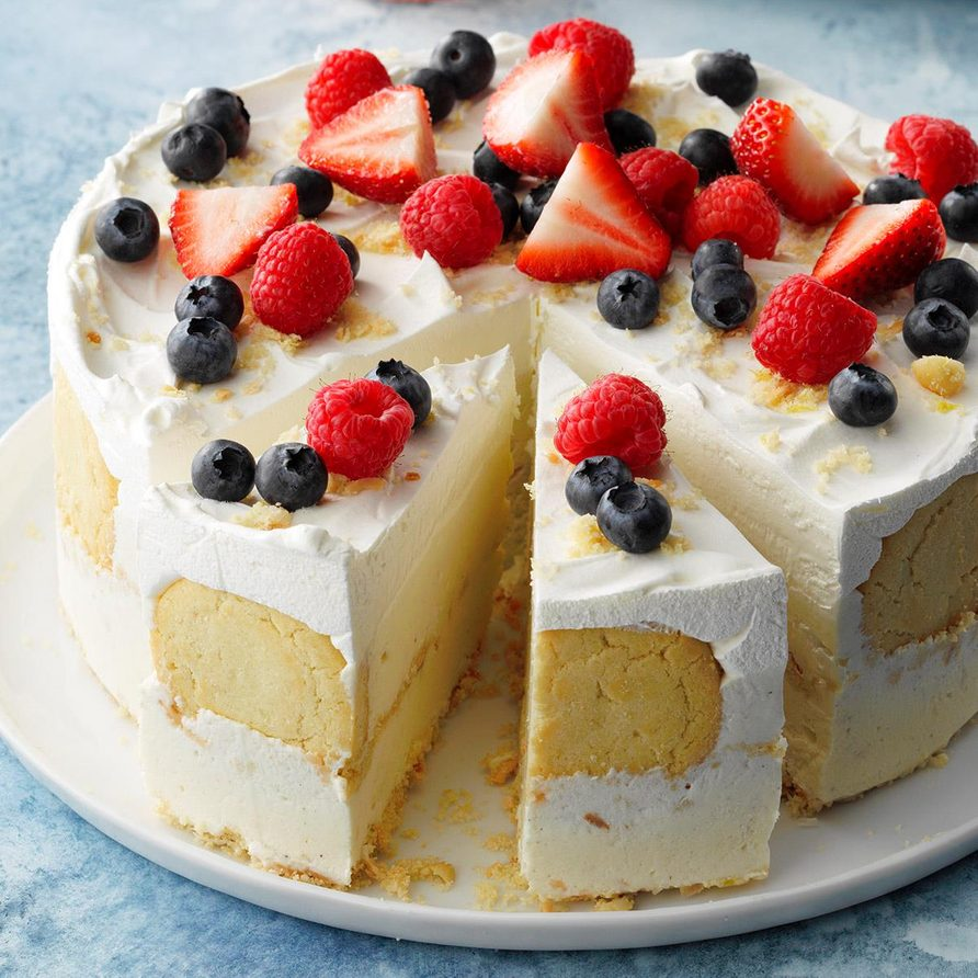 Lemon Coconut Ice Cream Cake