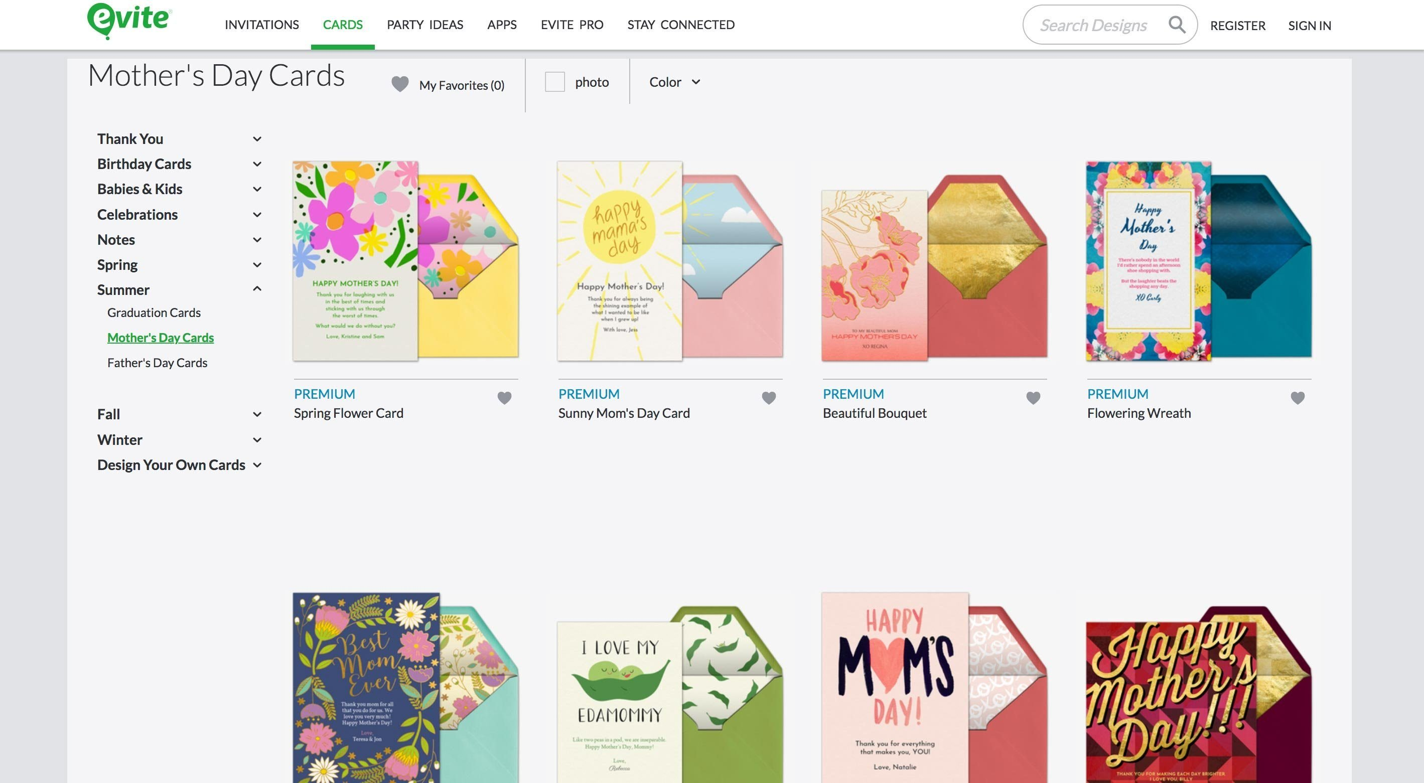 mothers day cards on evite
