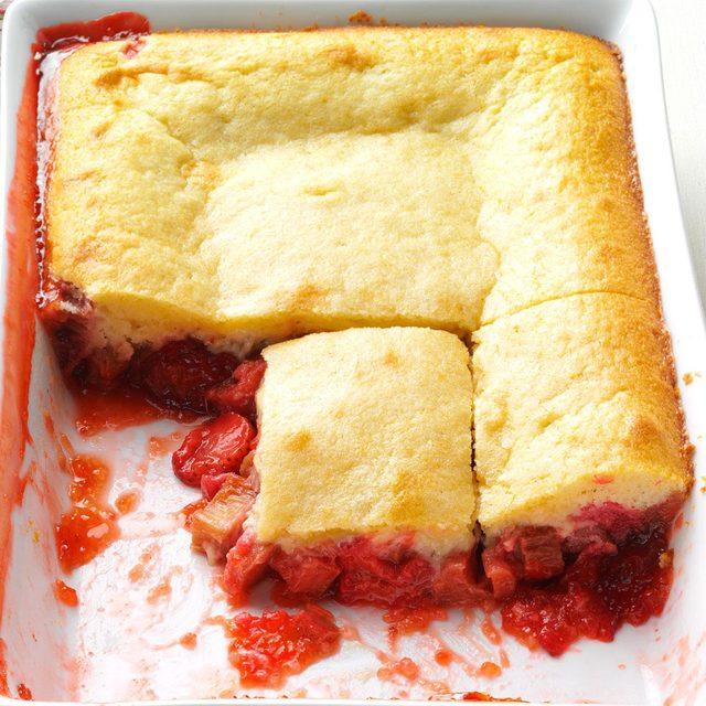 Strawberry-Rhubarb Flip Cake recipe
