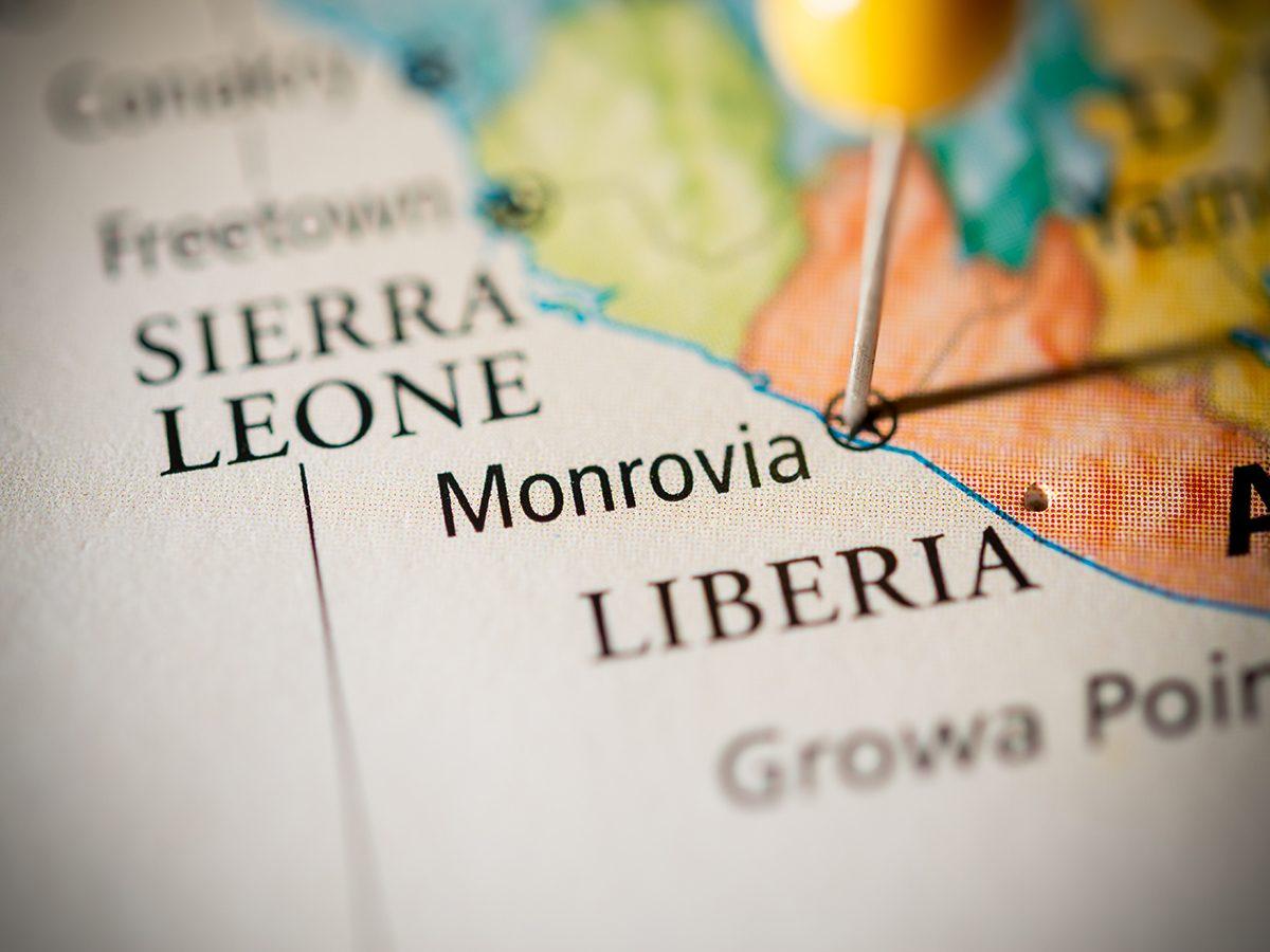 Monrovia capital of Liberia - on a map