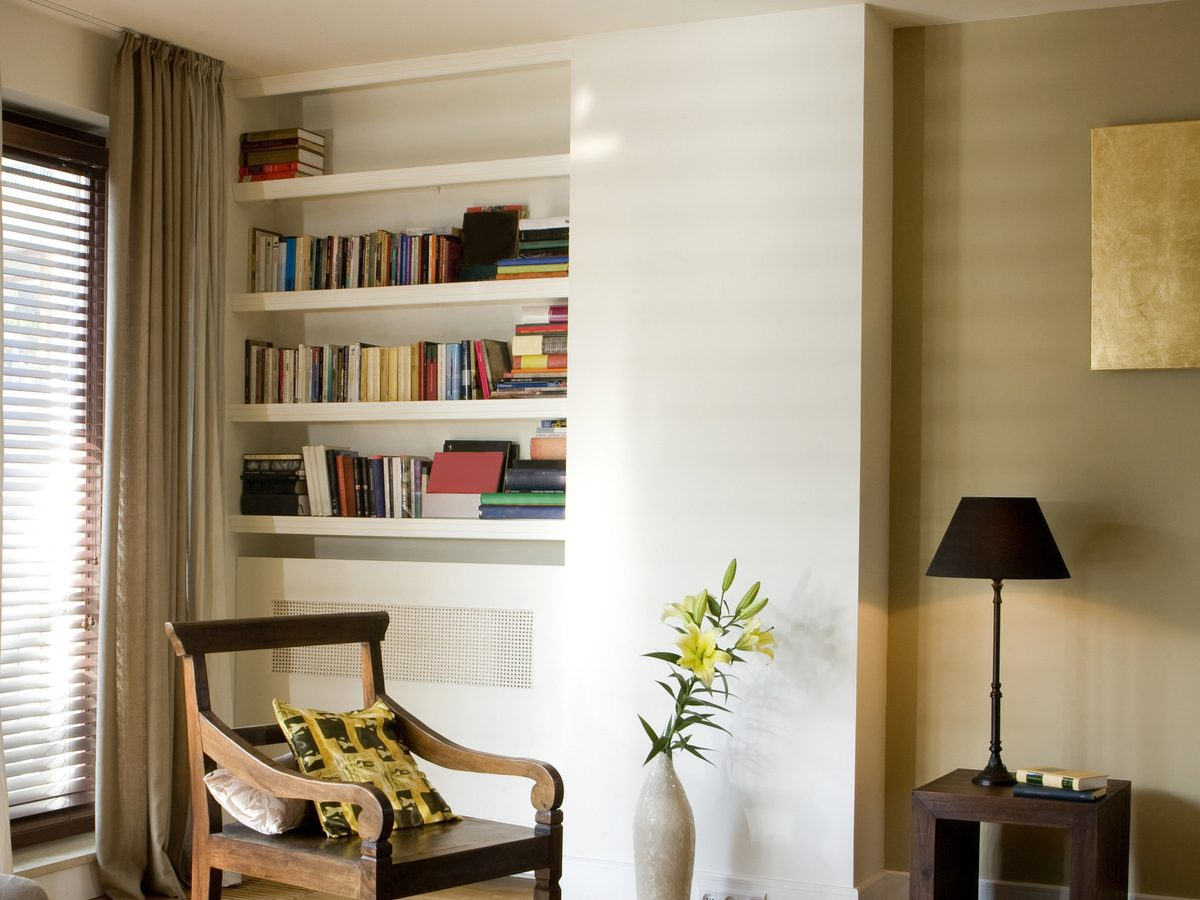 In-wall bookcase in living room