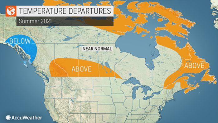 Summer Canada 2021 Weather Forecast - Temperatures