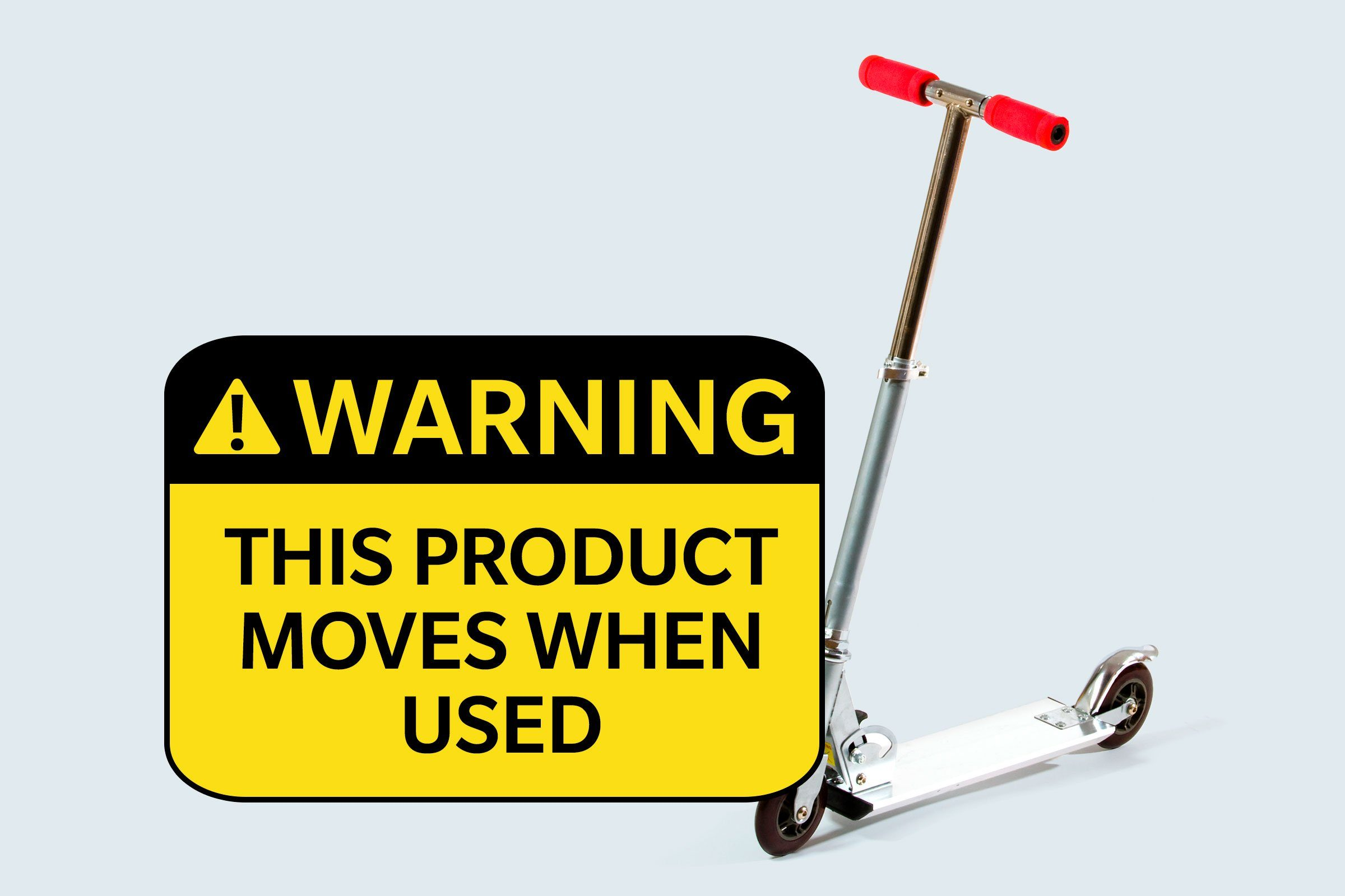 scooter. warning: this product moves when used