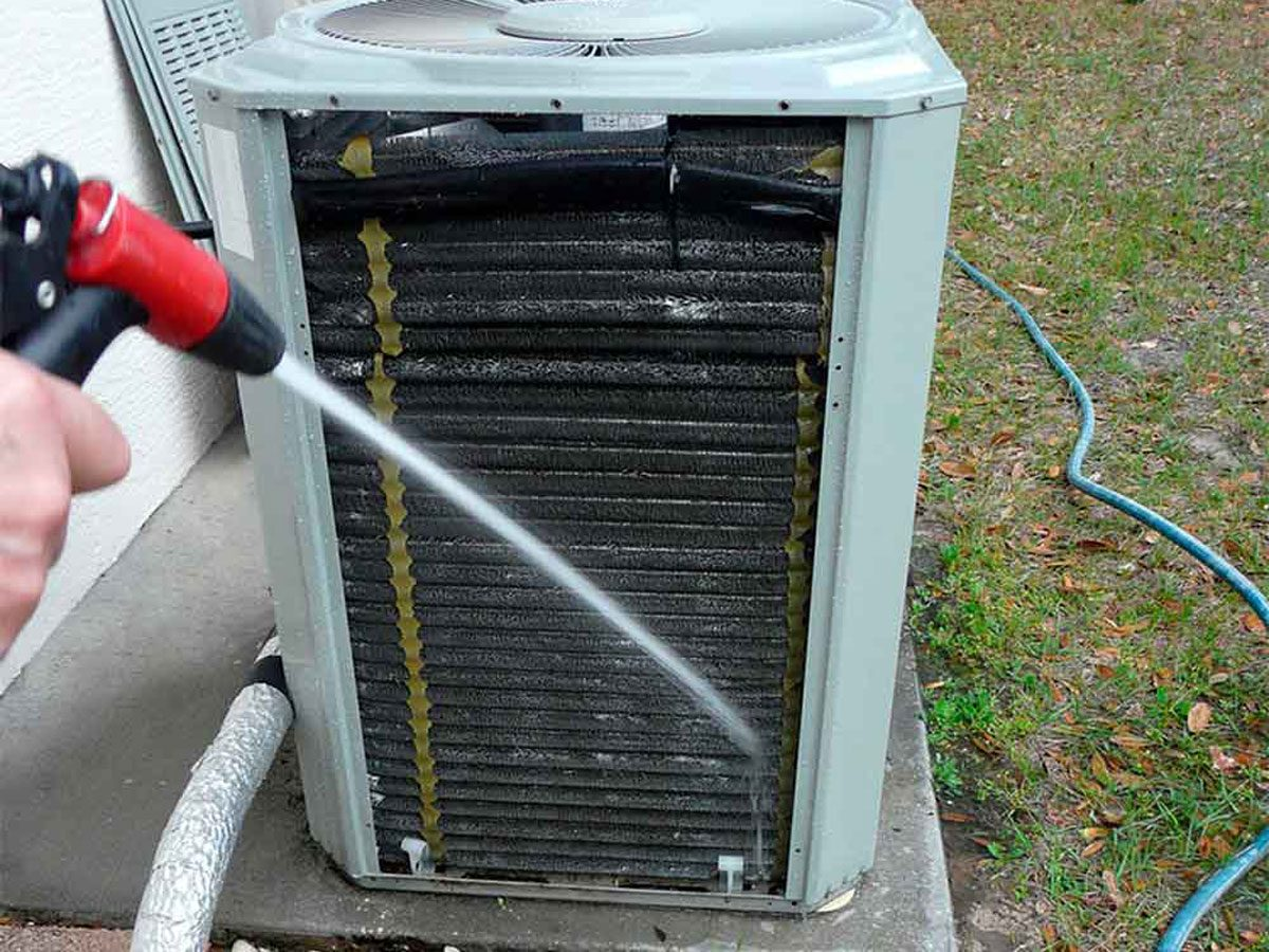 Cleaning outdoor air conditioner unit