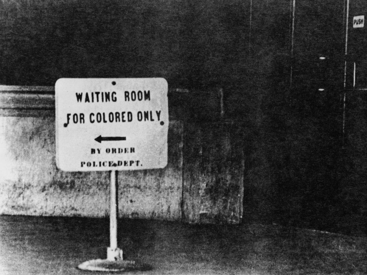 Sign describing racial segregation