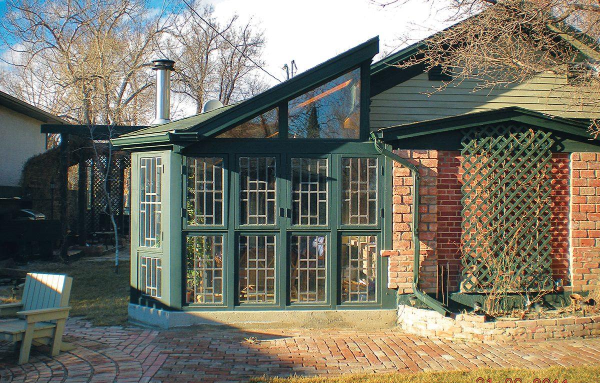 Historic grocery store reno - sunroom in backyard
