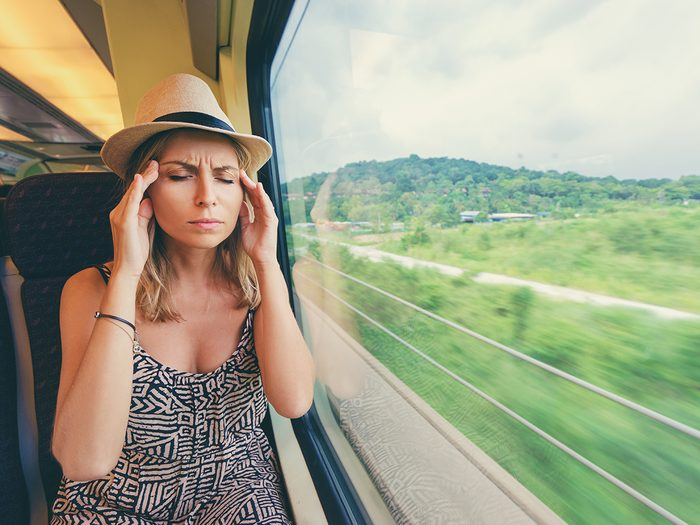 Home remedies for nausea - woman with motion sickness
