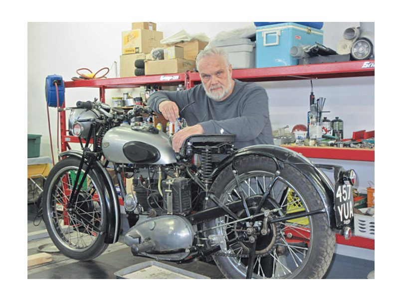 Kevin Browne with his 1935 Triumph T70 Tiger motorcycle