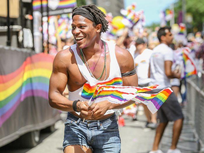 Man in tank top at 2017 Toronto Pride Parade