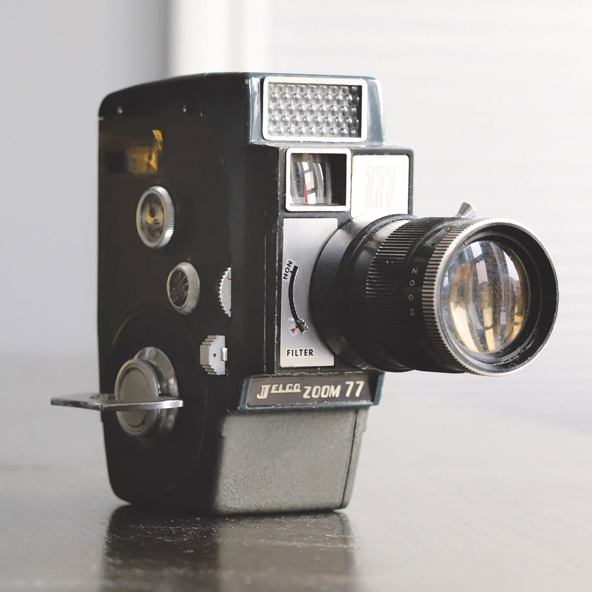 The Jelco Zoom 77 hand-cranked 8-mm movie camera