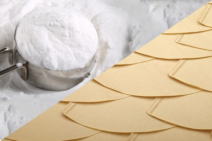 Uses for coffee filters - Control odour - Baking Soda
