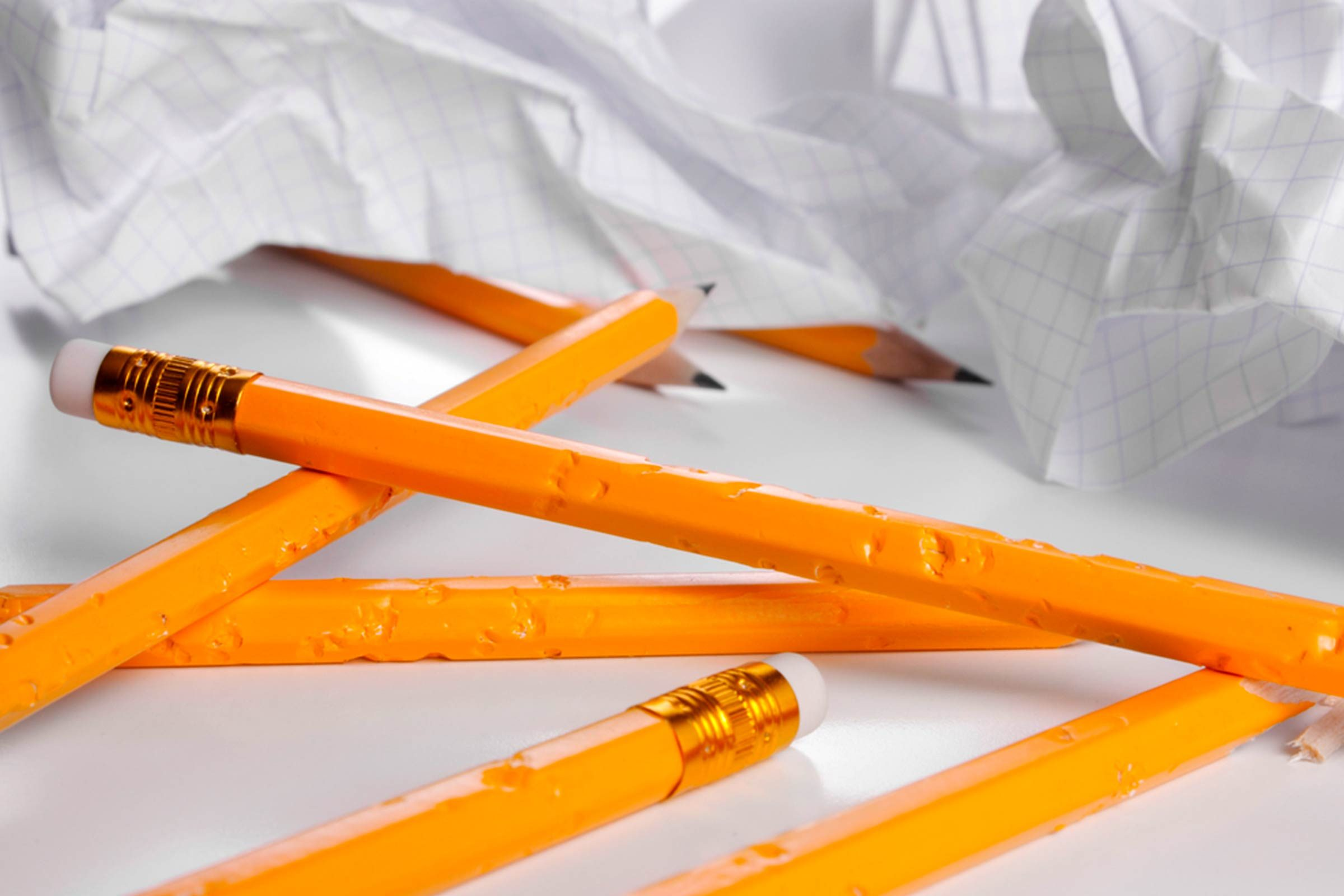 pencils with bite marks