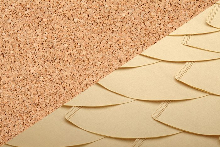 Uses for coffee filters - Cork crumbs