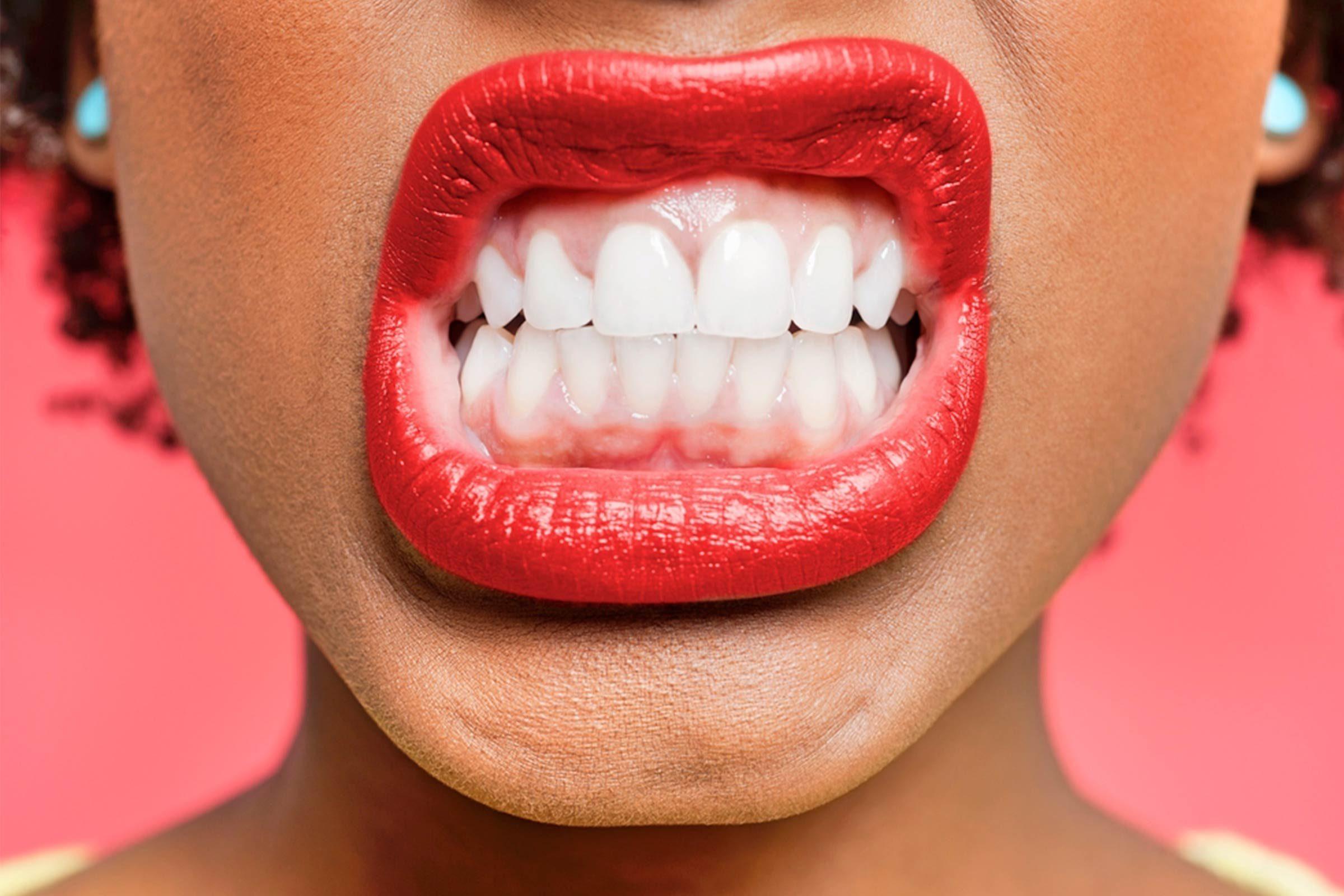 close up of teeth woman