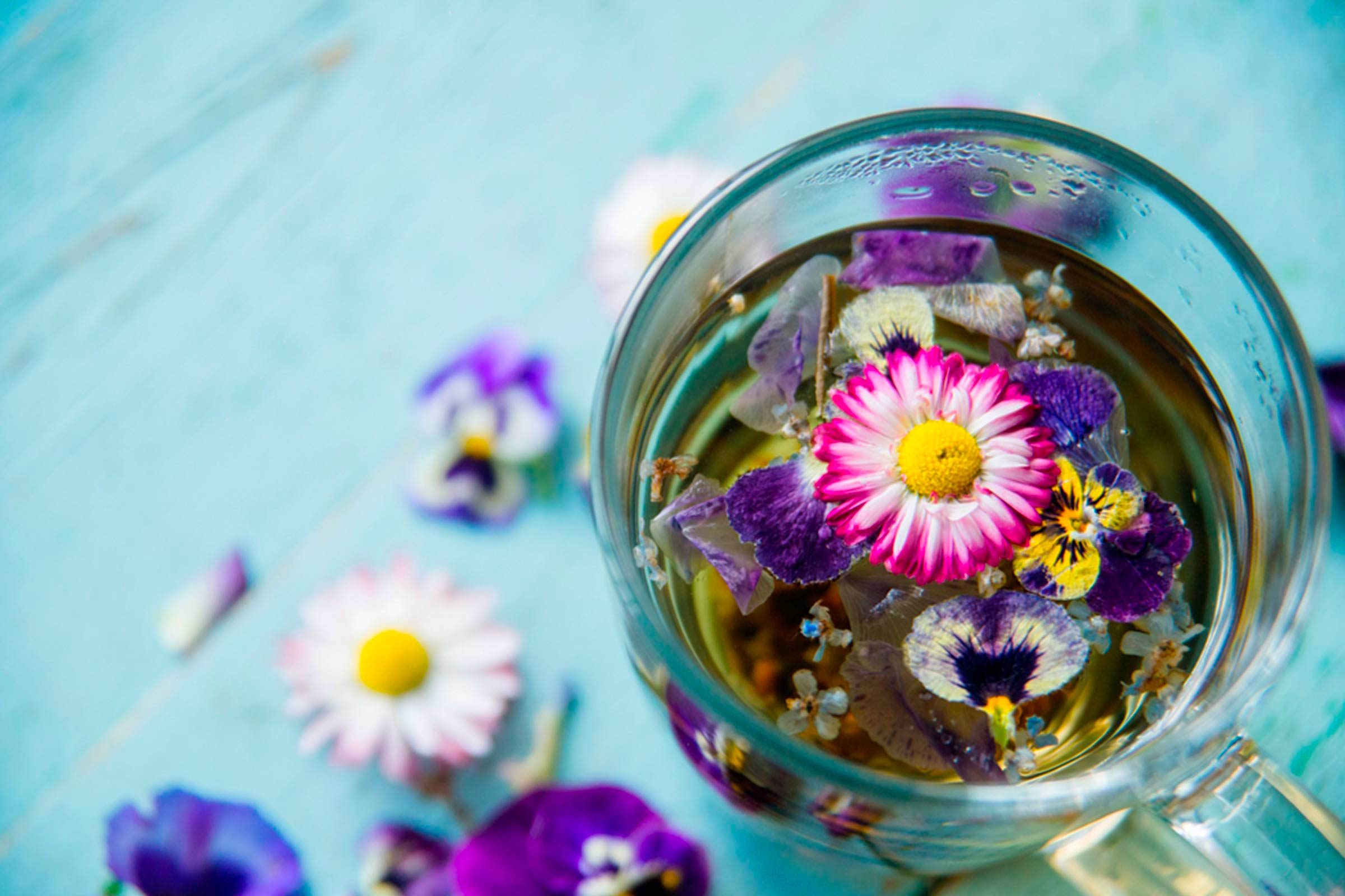 herbal tea in glass cup