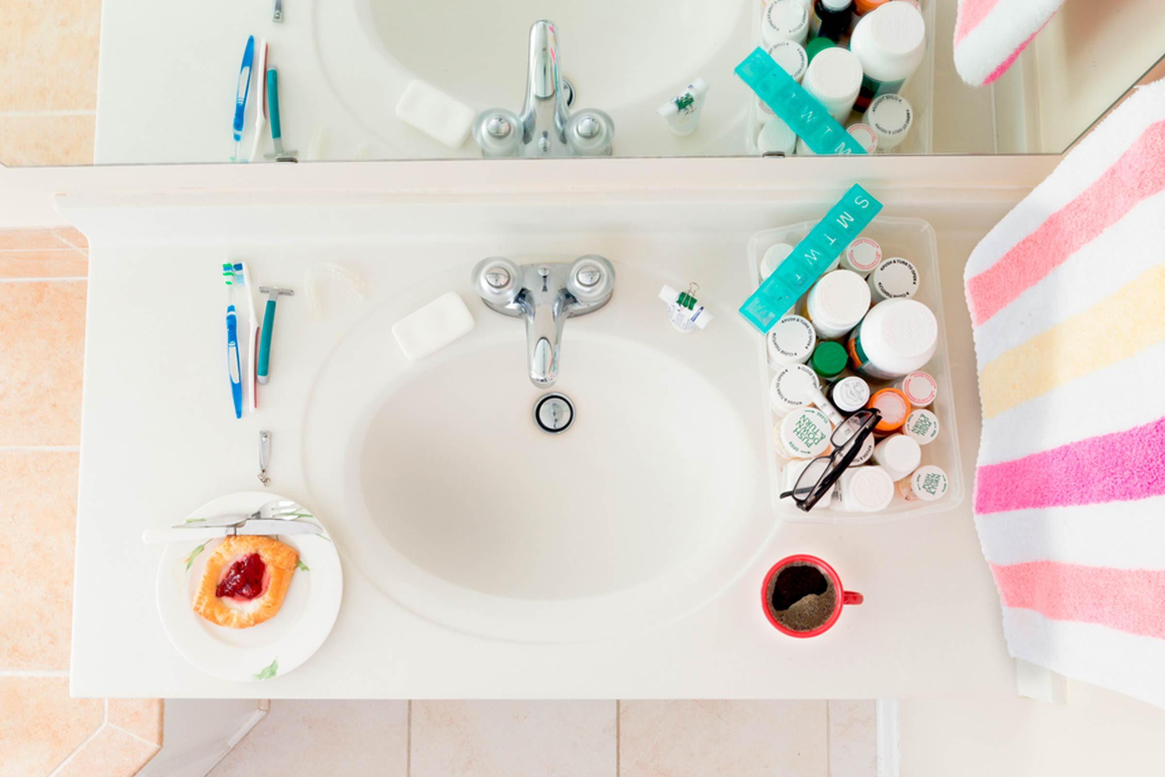 bathroom counter top overhead image