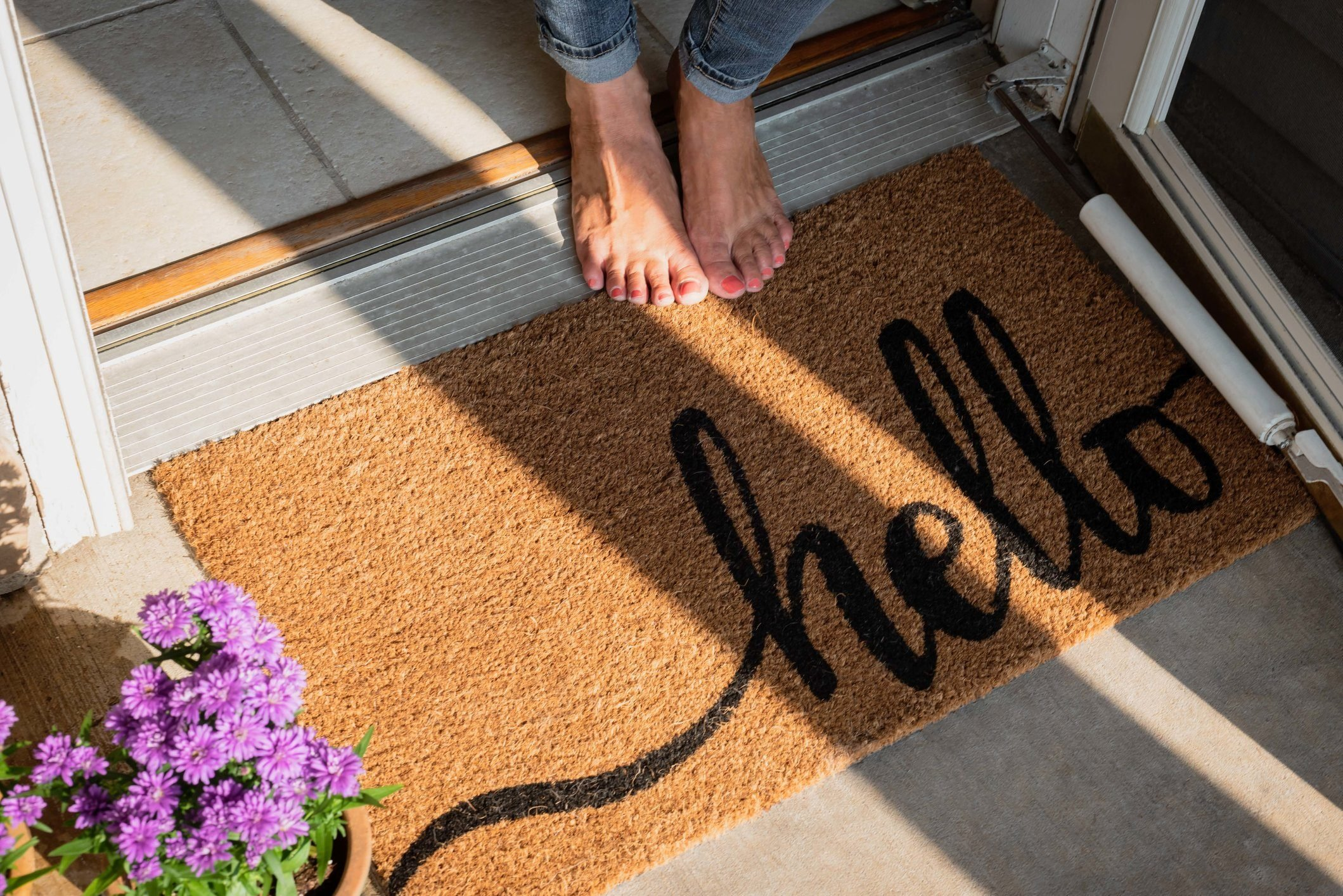 welcome mat outside of home