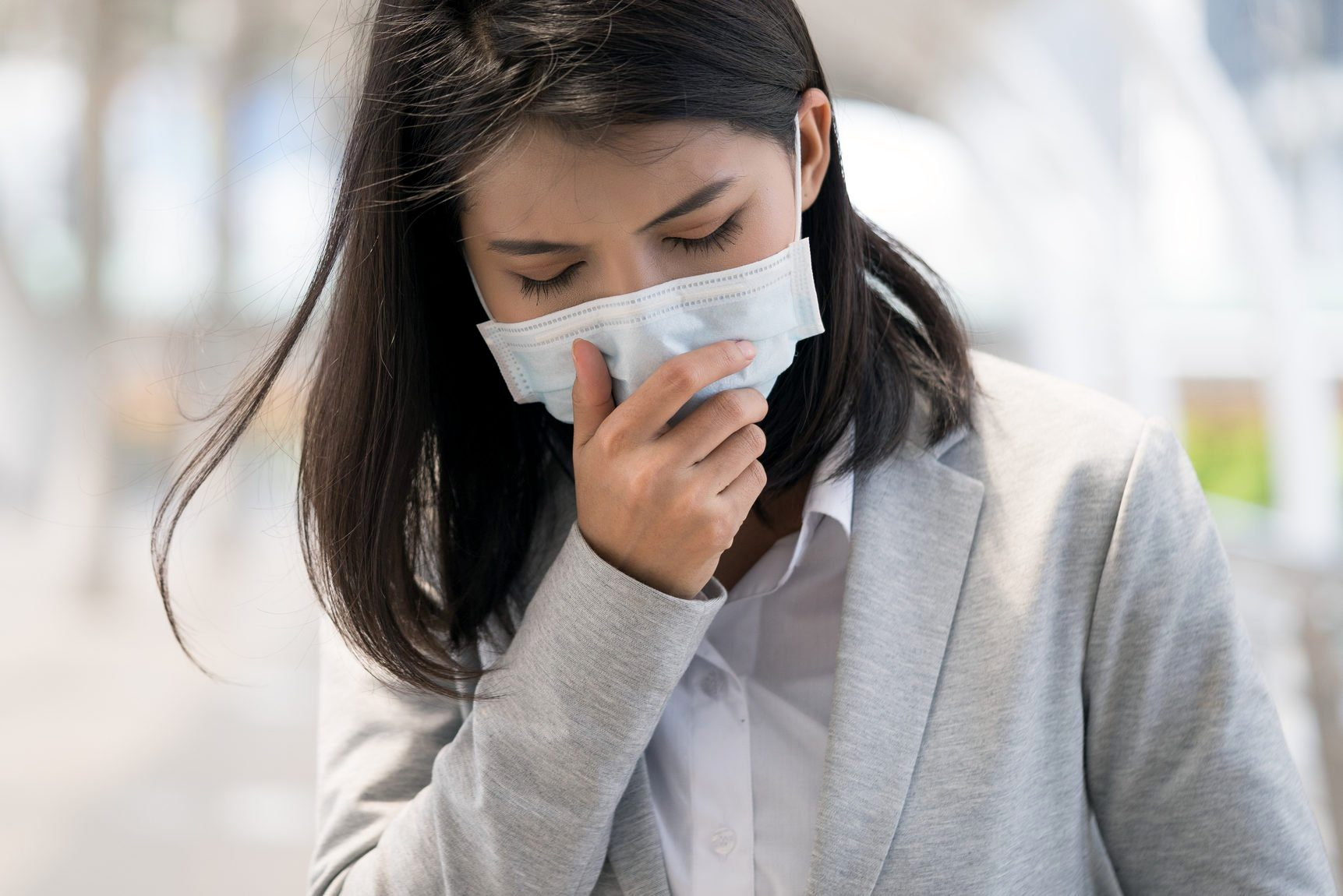 having a cough
