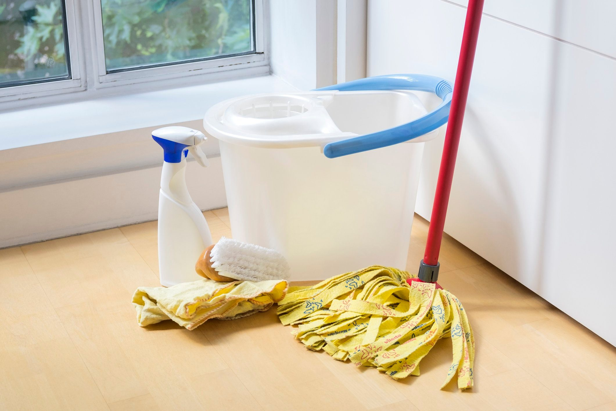 close up of cleaning products in house