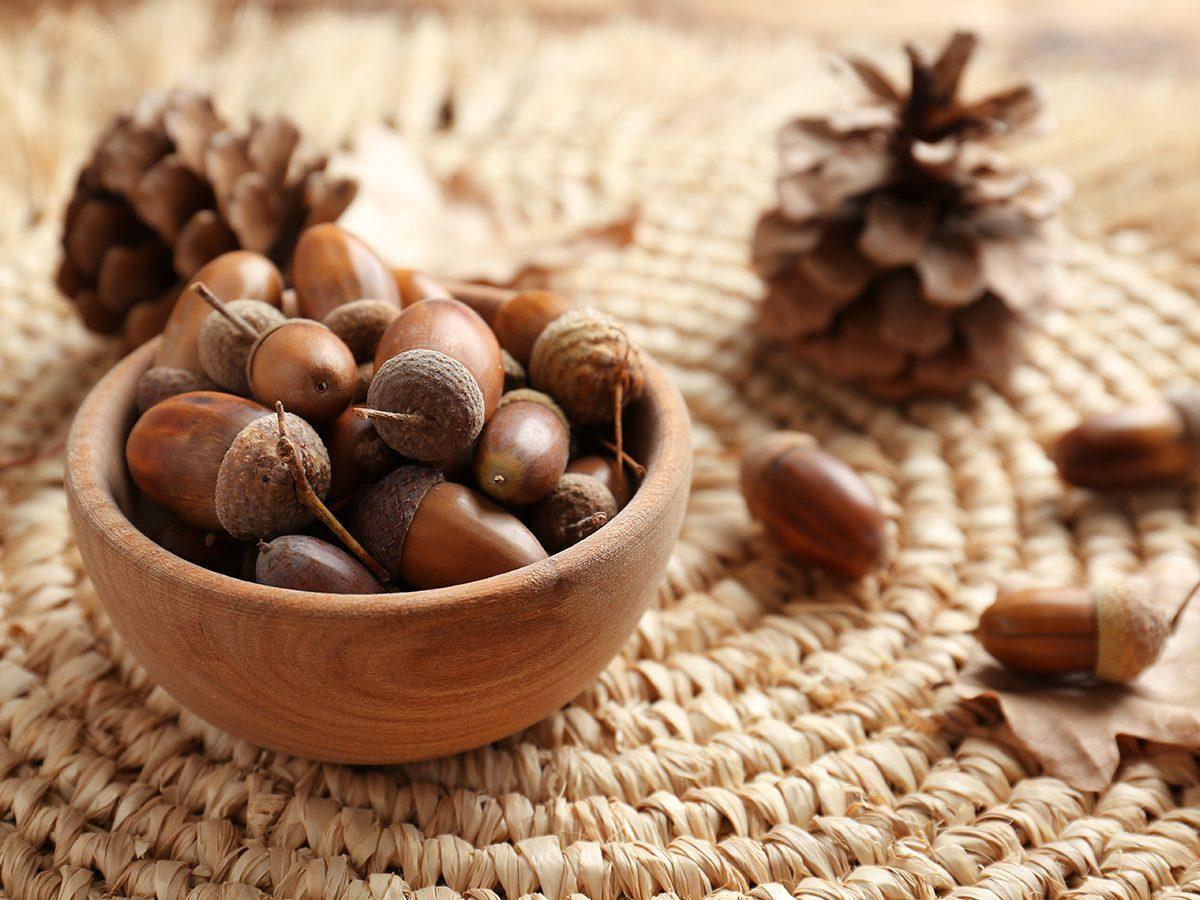Acorns in wooden bowl on wicker mat