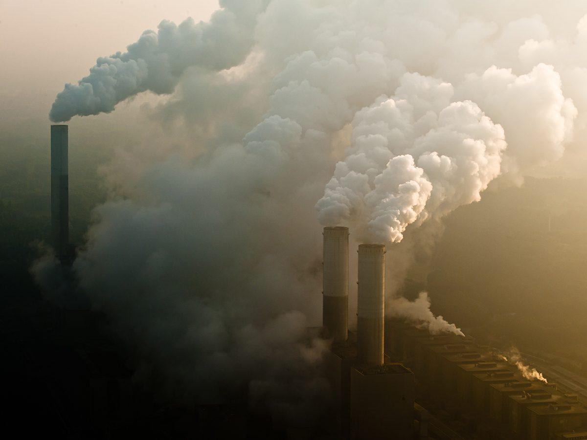 Good news - coal burning power plants smokestacks pollution