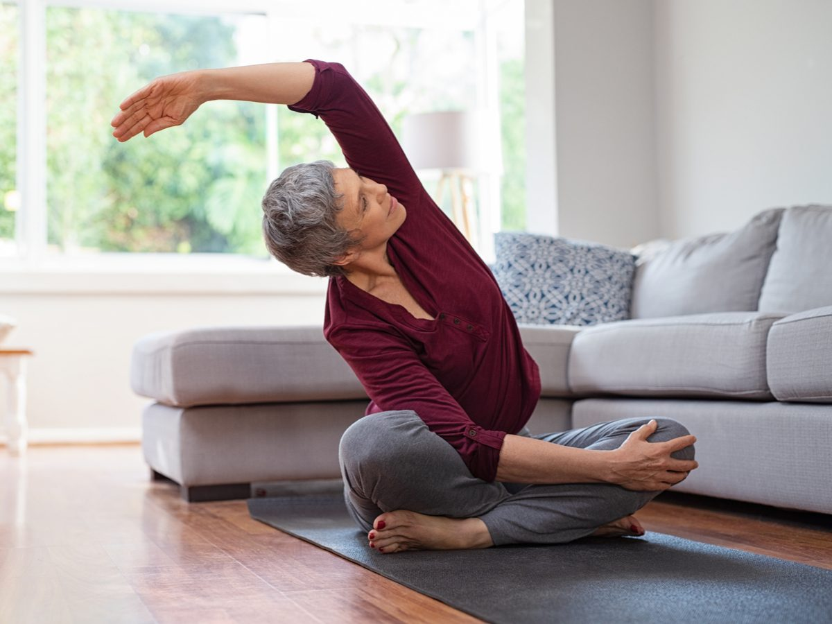Senior woman doing yoga