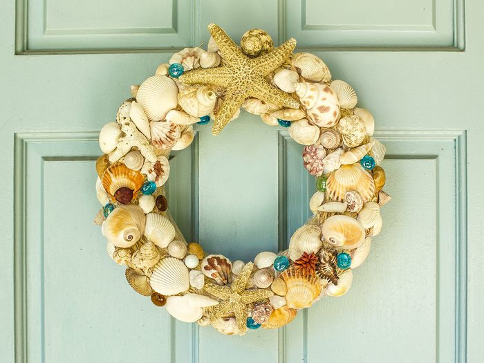 How To Boost Curb Appeal - Seashell Wreath on Door