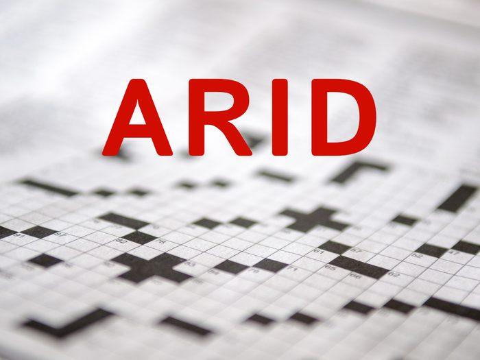 Crossword puzzle answers - Arid