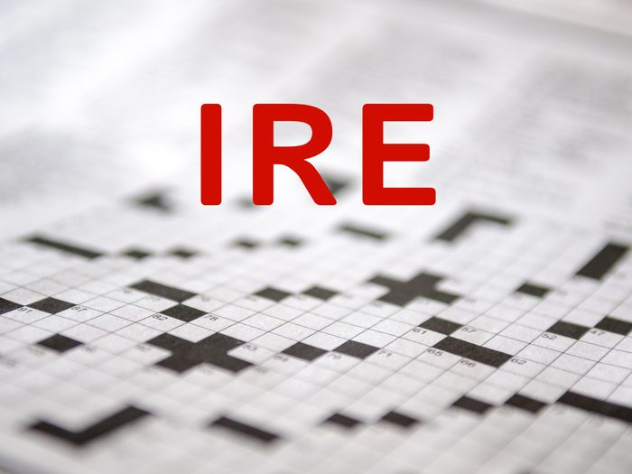 Crossword puzzle answers - Ire