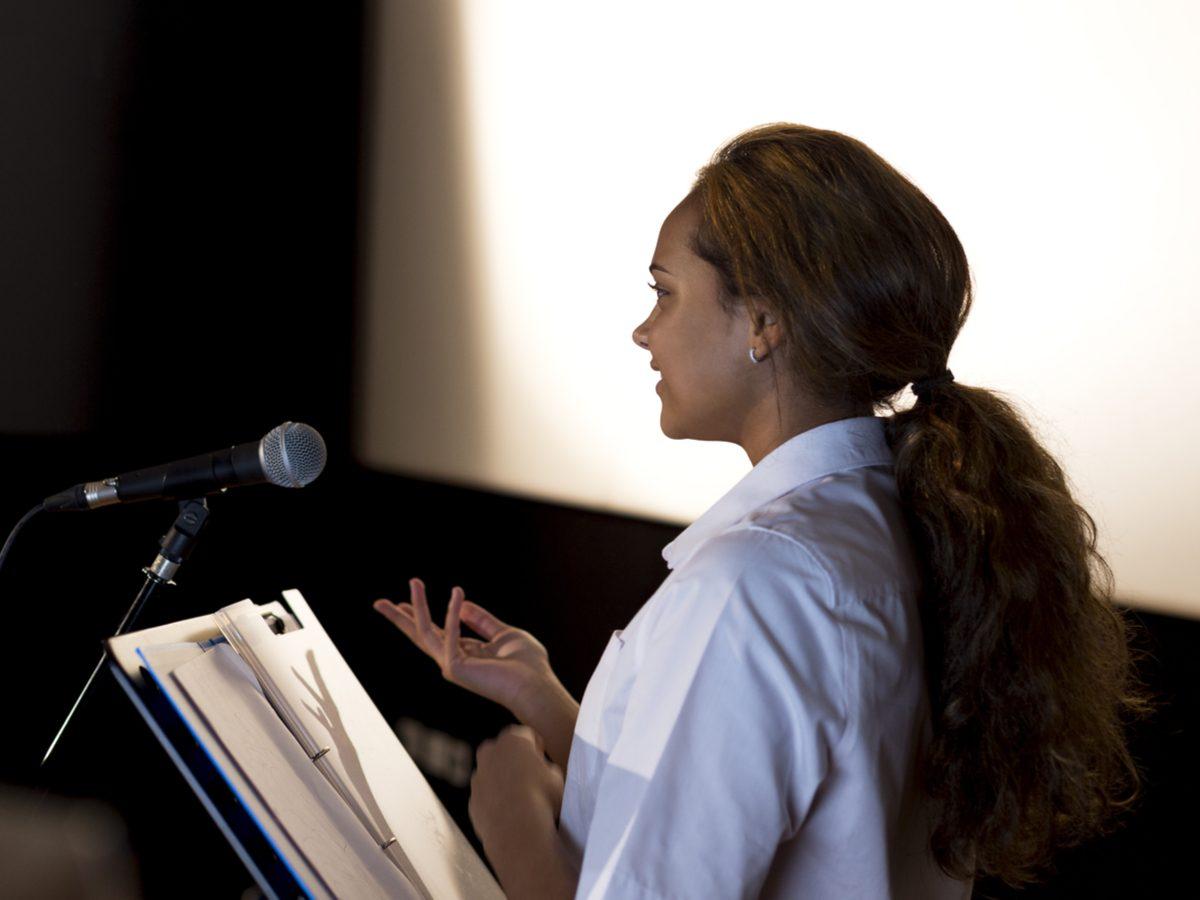 Woman making a speech